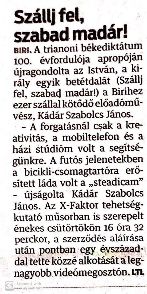 Szállj fel szabadmadár Karantén Kádár Szabolcs János Sajtó